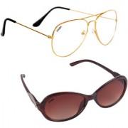 Aligatorr Combo Of 2 Cat Eye Aviator Unisex Sunglasses ldy brngold wtCRLK