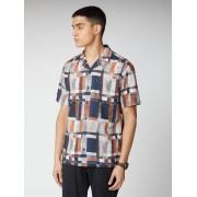 Ben Sherman Signature Printed Linen Shirt XXXL Peach