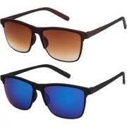 Adrian Wayfarer Sunglasses(Brown Blue)