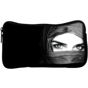 Snoogg Girl Covering Her Face Poly Canvas Student Pen Pencil Case Coin Purse Utility Pouch Cosmetic Makeup Bag