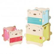 Worlds Apart Three Piece Stack Storage Boxes Bear Hug Beige WORL230013