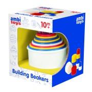 Set de construit pentru bebelusi Pahare colorate, 10 piese