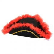 Pirate Hat Tricorn Hat with Fur Red and Black