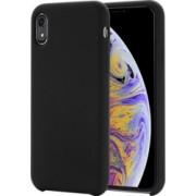 Husa model Liquid Silicone iPhone XR neagra protectiva moderna silicon si pc
