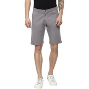 Urbano Fashion Men's Solid Grey Cotton Chino Shorts (Size : 28)