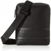 Calvin Klein crna muška torba Striped Logo Pu Flat Crossover