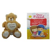 Teddy Bear Soft Toy Friend for Ever & Card Dear Friends for Sister /Brother/Women/Kids /36cm by Unique Indian Craft