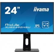 liyama iiyama prolite xub2492hsu-B1 60,5 cm (23,8 inch) IPS LED-monitor Full-HD (VGA, HDMI, DisplayPort, USB2.0, Ultra-Slim-Line, hoogteverstelling, Pivot) Zwart
