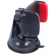 Univerzális autós telefon tartó szélvédőre tapadókorongos 3,5-6' - fekete-piros
