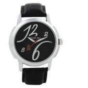 Golden Bell Men'S Black Round Genuine Leather Strap Wrist Watch (Gb0032)