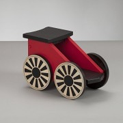 Kids Wooden Riding Toy, Ride On Train - South Bend Woodworks Express Red/Black Coal Car