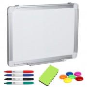 TABLA ALBA MAGNETICA 90x60 cm rama aluminiu, +Plus Office+CADOU! (Set 4 markere+burete+magneti) Tabla magnetica (Whiteboard) Aluminiu 60x90 cm