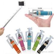 KSJ Mini Selfie Stick with Aux Compatible - Multicolor