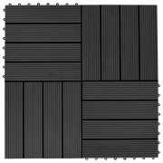 vidaXL Plăci de pardoseală 11 buc, negru, 30 x 30 cm ,WPC, 1 mp