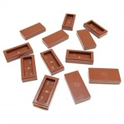 Lego Parts: Tile 1 x 2 with Groove (Service Pack of 12 - Reddish Brown)