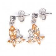 Lorella Swarovski kristályos pillangó formájú fülbevaló - Pezsgő szinű