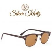 Silver Kartz Wayfarer, Rectangular Sunglasses(Brown)