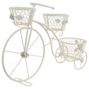 Bicicleta alba din metal, decoratiune pentru casa