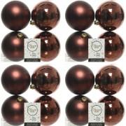 Geen 16x Mahonie bruine kerstballen 10 cm kunststof mat/glans
