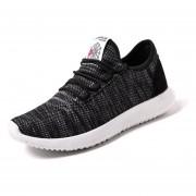Zapatos Casuales Ligero Transpirable Pisos Malla Para Hombres - Negro