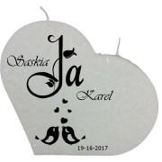 Trouwkaars JA lovebirds op een grote hartkaars - wit