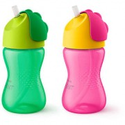 Philips Avent Straw Cup 300ml Single SCF 798/00 - Green/Pink
