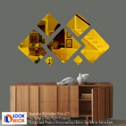 Look Decor-7 Decorative-(Golden-Pack of 7)-3D Acrylic Mirror Wall Stickers Decoration for Home Wall Office Wall Stylish and Latest Product Code Number 1395