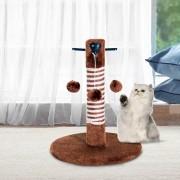 PawHut ® Poste Rascador para Gato para Arañar 3 Bolas de Juego Marrón 34x34x42cm