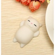 ANABGI Cat Kitten Squishy Squeeze Cute Healing Toy Kawaii Collection Stress Reliever Gift Decor (White)