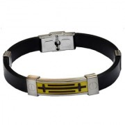 Men Style Gold Plated Design Bikers Sport Wristband Black Silver and Gold Stainless Steel and Silicone Bracelet For Men and Boys