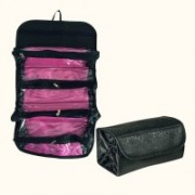 Shadow Fax Genuine 4 in 1 Travel Buddy Roll N Go Cosmetic Bag Toiletry Jewelery Organizer(Black)