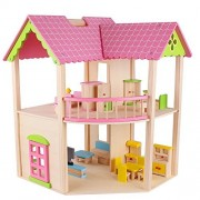 LLZJ Child Doll House Wooden Kids Pretend Play House DIY Handmade Toys Puzzle Model Room Birthday Gift Playset Assembling Houses Toy-8731