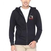 Campus Sutra Men Applique Zipper Hoodies Black