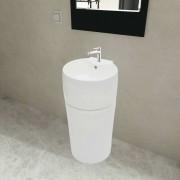 vidaXL Bijeli keramički okrugli umivaonik sa zaštitom od prelijevanja