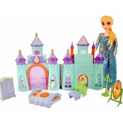 Halo Nation® Frozen Castle Doll House with Elsa Doll - Beautiful Palace for Kids (Blue)