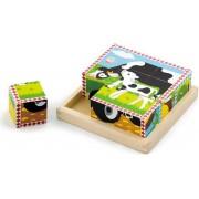 Drvene kocke puzzle - farma (4 kom)