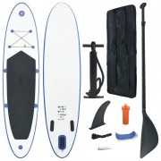vidaXL Conjunto prancha de paddle SUP insuflável azul e branco