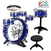 Toyvelt Ultimate 12 - Piece Kids Jazz Drum Set - 6 Drums, Cymbal, Chair, Kick Pedal, 2 Drumsticks, Stool - Little Rockstar Kit To Stimulating Children's Creativity, & Eye - Hand Coordination