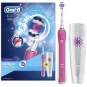 Електрическа четка за зъби Oral-B PRO 2 2500W 3D WHITE, Розова, 1 глава за четка за зъби, 1 калъф за пътуване