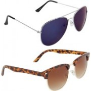 Zyaden Aviator, Oval Sunglasses(Blue, Brown)