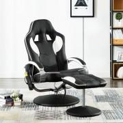 vidaXL Масажен стол с табуретка, бял, изкуствена кожа