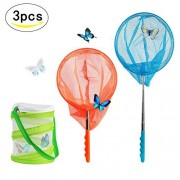SEELOK 2 Pcs Telescopic Butterfly Nets Extendable Fishing Net with Butterflies Village Habitat for Kids Catching Bugs Insect Small Fish Grasshopper Crickets Firefly Outdoor Activities