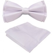 Voici France- Pre knot double layer White bow Tie with Pocket Square
