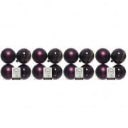 Geen 16x Aubergine paarse kerstballen 10 cm kunststof mat/glans
