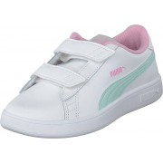 Puma Puma Smash V2 L Ps Puma White-fair Aqua-pale Pink, Skor, Sneakers & Sportskor, Låga sneakers, Vit, Barn, 30