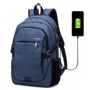 Men Women Canvas Laptop Backpack Casual Daypack Travel Rucksack with USB Charging Port