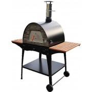 Stand metalic mobil pentru cuptor traditional pentru pizza pe lemne Maximus cu mese laterale din lemn