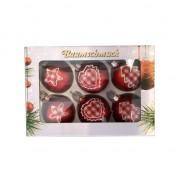 Geen 6 rode kerstballen met stoffen opdruk 5 cm