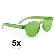 Merkloos 5x Groene verkleed zonnebrillen voor volwassenen