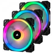 Set 3 ventilatoare 120 mm Corsair LL120 RGB LED Dual Light Loop PWM, controller inclus
